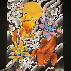 【francois_ft_art】さんのInstagramをピンしています。 《Koi fish/lotus color design ^^. #tattoo #tattoos #tatted #ink #inked #inkedup #art #artist #japanese #japanesetattoo #koifish #lotus #flowers #cherryblossoms #colors #copicmarkers #passion #california #cali #orangecounty #oc #huntingtonbeach #hb #anaheim #fountainvalley #costamesa #santaana #gardengrove》