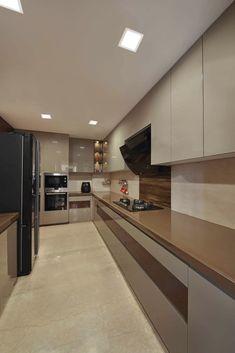 The warm bliss minimalist kitchen by ar. Kitchen Room Design, Modern Kitchen Design, Home Decor Kitchen, Interior Design Kitchen, Kitchen Furniture, Flat Interior Design, Indian Interior Design, Modern Kitchen Interiors, Furniture Stores