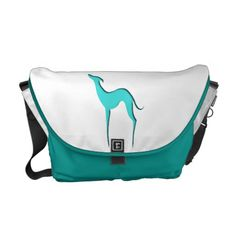 Greyhound/Whippet turquoise silhouette Bag Messenger Bag