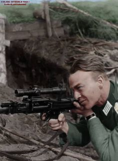 Soldier with MG-34 with a scope on it