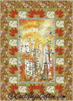 Japanese Traditional Autumn Mountain Scenic Sewing Quilting Fabric Panel