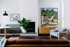 Living room from colourful California bungalow in Sydney's east by Arent & Pyke. Photography: Felix Forest | Styling: Juliette Arent | Story: Australian House & Garden