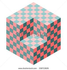 Vasarely cube illustration in shades of teal and coral, optical illusion