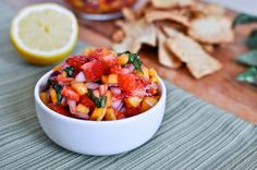 strawberry mango basil salsa  {How Sweet Eats}...with pita chips, on fish tacos, shrimp tacos, over chicken, in a quesadilla...