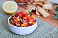 Strawberry Mango Basil Salsa. Yum.