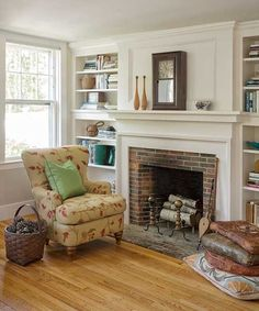 Fabulous fireplace in need of a rug