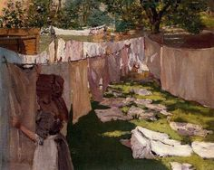 Wash Day, circa 1886 Painting by William Merritt Chase **Good to see a sun-bonnet.