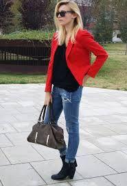 outfit blazer rojo - Google Search
