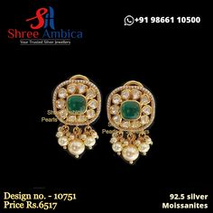 Priceless 92.5 silver ear ornaments delicately designed using moissanites and pure pearls to thrill your soul. Pick this from Shree Ambica - Your Trusted Jewellers for the upcoming festive/wedding season. Readily available in stock For Price and Details Message on - +919866110500 #ShreeAmbica #TrustedJewellers #SilverJewellery #polkijewellery #kundanjewellery #peacockjewelry #emeraldjewelry #uncutdiamondjewellery #indianbride #indianwedding #jewelryaddict Peacock Jewelry, Emerald Jewelry, Silver Jewellery, Uncut Diamond, Jewellery Designs, Wedding Season, Festive, Pure Products, Jewels