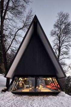 Black A-Frame Cabin Off-Grid in the Andes by Smiljan Radic A Frame House Plans, A Frame Cabin, Amazing Architecture, Architecture Design, Black Architecture, Contemporary Architecture, Prefab Buildings, Tiny House Cabin, Forest House