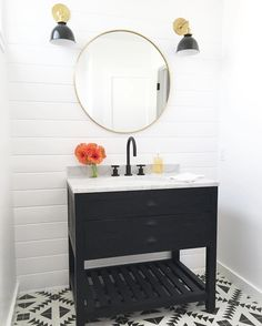 New bath anyone! In stock Tulum pattern in this bathroom by @frankiefashion. ・・・ Its finally finished and I just might move in 😁 #fhfhome #myonepiece #cementtileshop #cementtile #cementtiles #concretetile #cubantile #mexicantile #encausticcementtile #encaustictile #blackandwhite #blackandwhitetile #handmadetiles #handmadetile #patternedtile #blackandwhitebathroom #roundmirror #schoolhouseelectric #schoolhouse @schoolhouse #shiplap