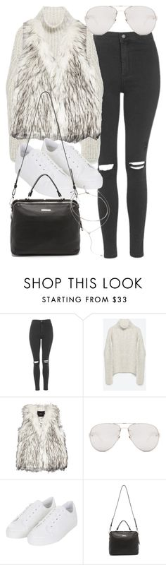 """Untitled #2684"" by mollyk99 ❤ liked on Polyvore featuring Topshop, Zara, Unreal Fur, Linda Farrow, Linea Pelle and Forever 21"