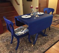 Drexel Travis Court Collection Duncan Phyfe style table and chairs in Sailboat blue (Behr)