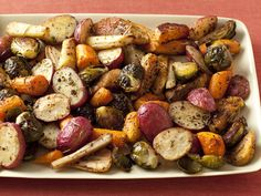 Giada's Roasted Potatoes, Carrots, Parsnips and Brussels Sprouts from FoodNetwork.com----just sub. Kosher salt :)