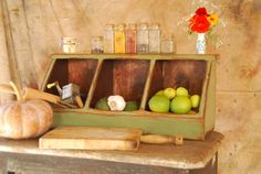 Kitchen Storage Boxes Primitive Rustic Country Chic.  No way is this worth what they're asking for it, but it's a great idea for an easy DIY project.