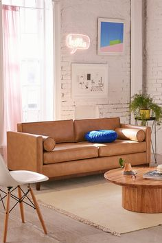 Piper Petite Recycled Leather Sofa | Urban Outfitters