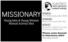 YW activity idea....missionary work