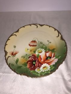New lower price!! Hand Painted Poppies Poppy Floral Gilded Signed Plate Charger ZS & Co Bavaria  #ZSCo