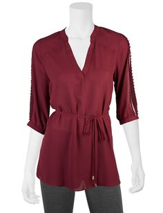 Shop today for A. Byer Bordeaux Tie Front Tunic Top & deals on Blouses! Official site for Stage, Peebles, Goodys, Palais Royal & Bealls.