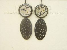 paper circles + pierced ovals earrings | oxidised silver, original postcards, gold rivets, perspex | by Clare Hillerby