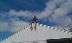 up on a roof