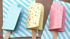 Billiges Vatertagsgeschenk Des cartes d'invitation en forme d'esquimaux glacés, la fête promet d'ê. Easy Crafts, Diy And Crafts, Paper Crafts, Invitation Fete, Invitations, Charlie E Lola, Diy For Kids, Crafts For Kids, Tarjetas Diy