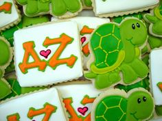 Delta Zeta cookies #turtle #DZ #sorority