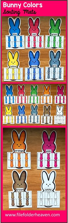 These Bunnies Color Sorting Mats include 11 unique sorting mats that focus on sorting bunnies by color.  In a center or independent work station, students sort colored bunnies into the bunny mat that is the same color.  Colored mats included are:  red blue green orange yellow pink purple brown gray black white