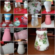 Flower Fabric container glass Jar