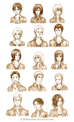 Attack on Titan Character Sketches by hakuyukiko.deviantart.com on @deviantART