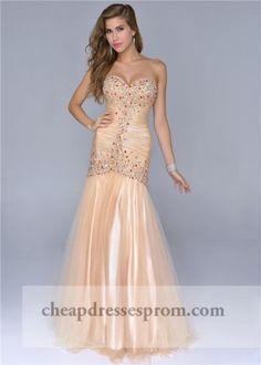Gold Cheap Beaded Mermaid Prom Dresses 2014
