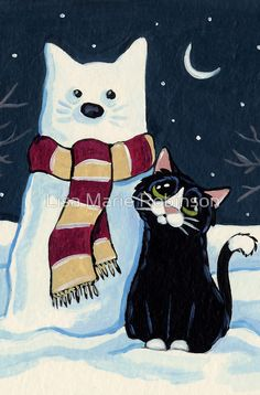 Buy 'Snow Cat' by Lisa Marie Robinson as a Greeting Card. OriginalAcrylic on watercolour paper While out for a midnight stroll, Kitty came across a familiar figure who was cold to the touch! I Love Cats, Cute Cats, Frida Art, Kinds Of Cats, Curious Creatures, Cat Quilt, Country Art, Cat Crafts, Cat Drawing