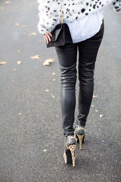 Leather pants and leopard booties | Sydney girls street style | Xssat Street Fashion
