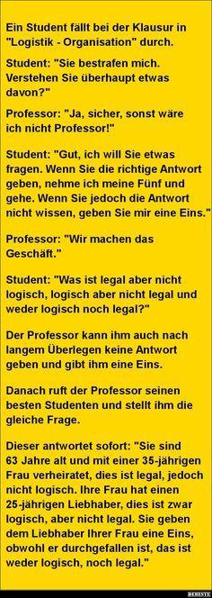 Ein Student fällt bei der Klausur in 'Logistik - Organisation'..