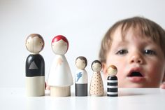 Wooden Peg Dolls Monochrome Family // Black and White Wooden Toys // Peg Dolls by goosegrease on Etsy https://www.etsy.com/listing/199965487/wooden-peg-dolls-monochrome-family-black