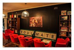 Scrabble throw pillows are cute. Jacobs Launches the Pop-up Board Game Cafe in Parkhurst