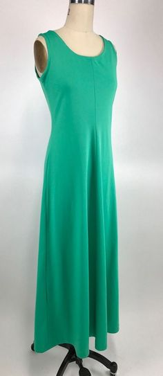 Vintage 60s 70's Mod Retro Boho Chic Green Maxi Dress Party Gown S / M