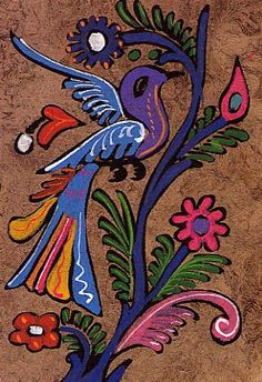 pinturas en papel amate - Buscar con Google Folk Art Flowers, Flower Art, Chant, Mexican Folk Art, Elementary Art, Teaching Art, Art Education, Buddhism, Art For Kids