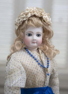 """18"""" (44 cm) Very Beautiful French Fashion Bisque Poupee Doll with Blue from respectfulbear on Ruby Lane"""