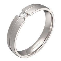 Alianza media caña con ranuras 4mm oro blanco satinado-diamante-C0440S1BB
