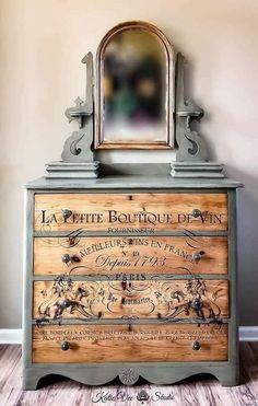 Decor de style campagne française - idée pour transformation de meuble.