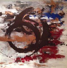 Pintura abstracta en lienzo  1mt x 1 mt técnica acrílico. US$  540