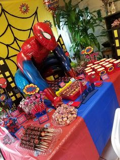 Spider-Man Theme Party side view of my Candy Table By: Christina L. Avengers Birthday, Superhero Birthday Party, 6th Birthday Parties, Birthday Party Decorations, Boy Birthday, Spiderman Theme Party, Birthday Ideas, Spider Man Party, Spider Man Birthday