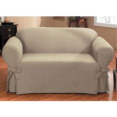 duck onepiece relaxed fit loveseat slipcover with arm ties 460 dkk - Surefit Slipcovers