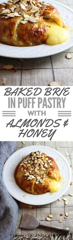 A delicious & easy appetizer – your search is over. Baked Brie swaddled in Puff Pastry with sliced Almonds and Honey drizzle is really to live for!