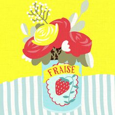 fraise, vintage strawberries can as a flower vase http://www.workbook.com/view/illustration/marco_marella