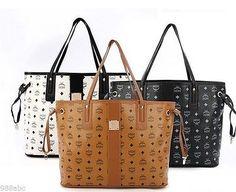 Mcm Per Bag Tote Shoulder Handbag Brown White Black