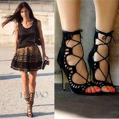 Женщины Сандалии Марка Дизайнер Гладиатор Высокие Каблуки Сексуальные Открытым Носком Вырезами Женская Обувь Зашнуровать Обувь Женщина Насосы Sandalias Mujer