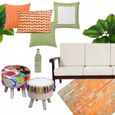 We've designed a tri-coloured space with mix-and-match cushions in saffron and green. Place them on a neutral sofa, like the beige one pictured here, to create a pop of vibrancy. Make sure a few pieces have a white (or neutral-coloured) palette to avoid the risk of overwhelming your space with too much bold colour. This pair of colourful stools allows you to bring an ethnic touch to this modern setting. The Marigold rug completes the look. To shop these products, read our blog!