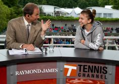 Ted Robinson, Tennis Channel commentator, interviews Simona Halep at Tennis Channel's Raymond James News Desk. -- Fred Mullane/camerawork usa